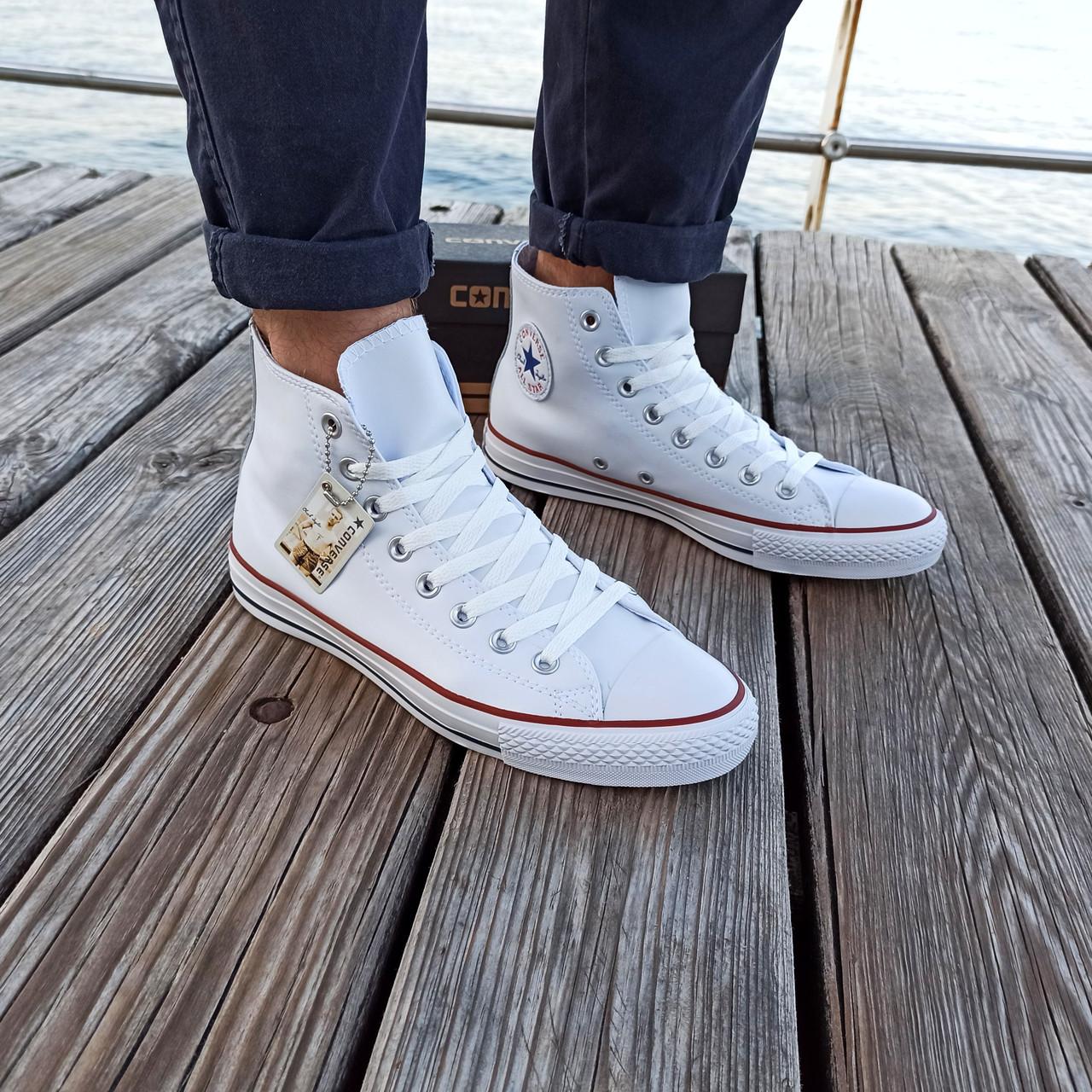 Мужские высокие кеды конверсы all star converse кожаные Белые деми демисезон