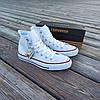 Мужские высокие кеды конверсы all star converse кожаные Белые деми демисезон, фото 6