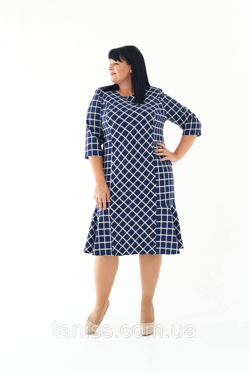 """Женское осеннее платье """"Флоренс"""", ткань костюмка, размеры 56,58,60 (023) синий,сукня"""