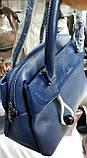 Жіночі сумки Преміум класу з ремінцем на плече 31*20 см (чорна і синя), фото 2