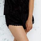 Шорти чорного кольору з набору піжами жіночої з мармурового велюру Julia, фото 2