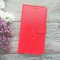 Чохол для huawei y6 pro / tit-u02 книжка візерунком Троянди ( яскраво червоний)