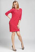Женское теплое  платье кораллового цвета