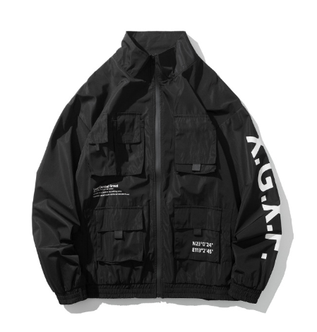 Куртка-ветровка чёрная в стиле Cyberpunk (киберпанк мужская женская унисекс)