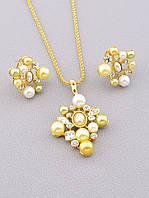 """Золотистий набір: сережки і кулончик на ланцюжку """"Перлинний"""", фото 1"""