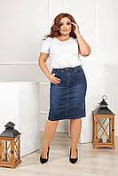 Женская юбка джинсовая стрейч коттон батал