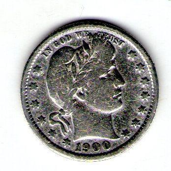 США 25 центов 1900 год серебро с78