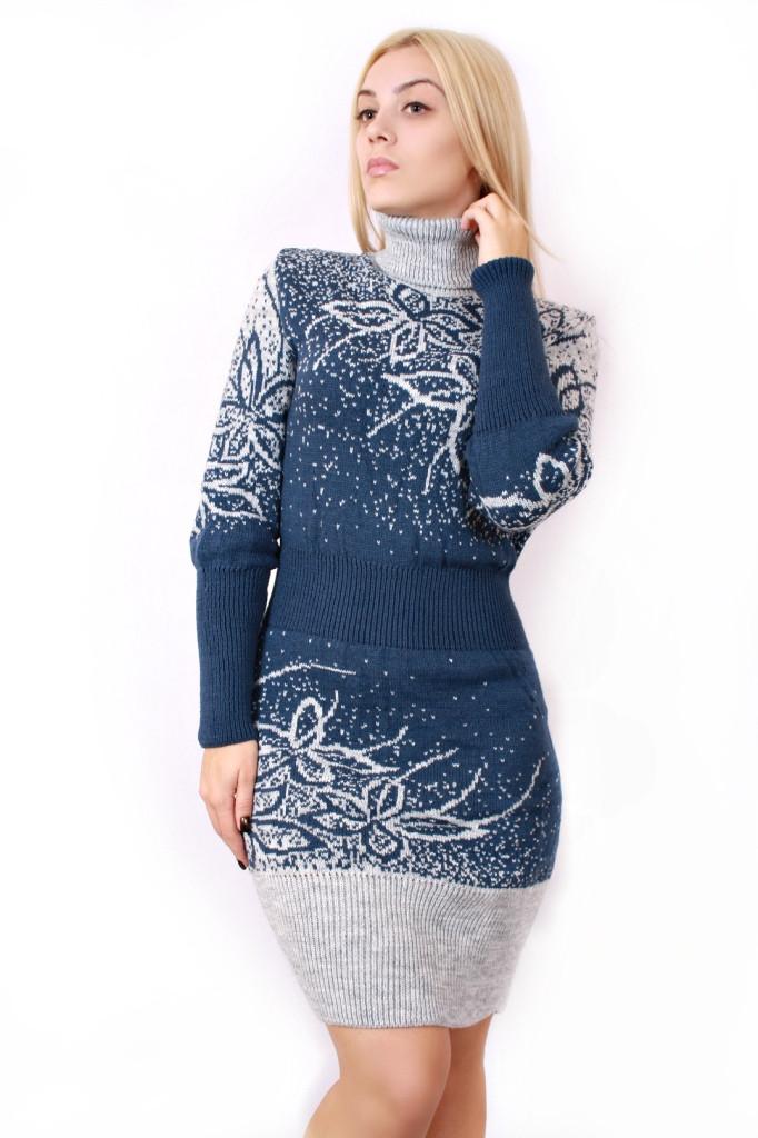Вязаное платье большого размера Цветы р 48-58