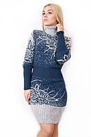 В'язане плаття великого розміру Квіти р 48-58, фото 1