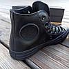 Женские высокие кеды конверсы all star converse кожаные черные деми демисезон, фото 3