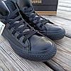 Женские высокие кеды конверсы all star converse кожаные черные деми демисезон, фото 4