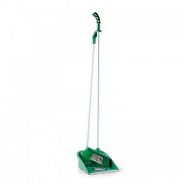 Комплект для подметания, совок и щётка с изящной ручкой зелёный lsf 111z