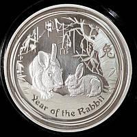 Серебряная монета Австралии 1 доллар 2011 г. Год кролика, фото 1