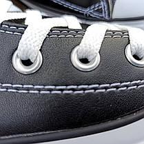 Жіночі високі кеди конверси converse all star шкіряні чорні чорно білі демі демисезон, фото 2