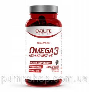 Омега-3 з жиророзчинними вітамінами Evolite Nutrition Omega 3 + D3 2000IU + K2 MK7 + E 60 капс.