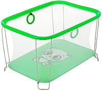 Детский манеж игровой KinderBoxс солнышко Зеленый панда с мелкой сеткой (SUN 9634)