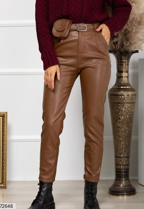 Р. 40-46 Женские кожаные брюки с высокой талией коричневые