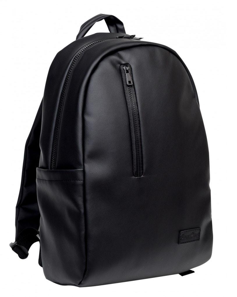 Классический мужской черный рюкзак матовая экокожа (качественный кожзам) деловой, офисный, для ноутбука 15,6