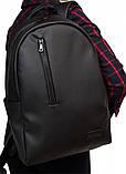Классический мужской черный рюкзак матовая экокожа (качественный кожзам) деловой, офисный, для ноутбука 15,6, фото 7