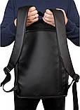Классический мужской черный рюкзак матовая экокожа (качественный кожзам) деловой, офисный, для ноутбука 15,6, фото 6