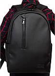 Классический мужской черный рюкзак матовая экокожа (качественный кожзам) деловой, офисный, для ноутбука 15,6, фото 5