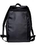 Классический мужской черный рюкзак матовая экокожа (качественный кожзам) деловой, офисный, для ноутбука 15,6, фото 3