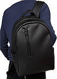 Классический мужской черный рюкзак матовая экокожа (качественный кожзам) деловой, офисный, для ноутбука 15,6, фото 4