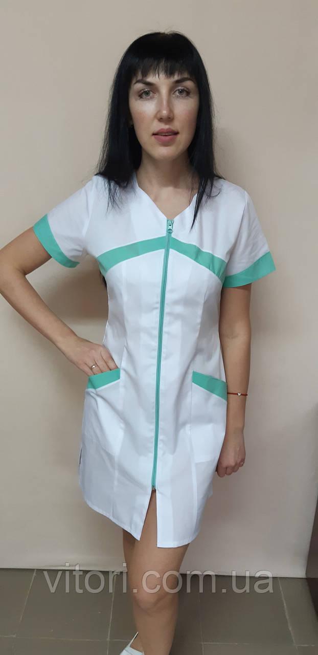 Жіночий медичний халат Корра бавовна на блискавці короткий рукав