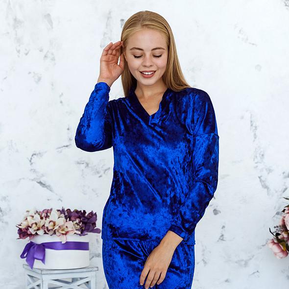 Кофта цвета электрик из набора пижамы женской из мраморного велюра Julia