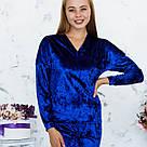 Кофта цвета электрик из набора пижамы женской из мраморного велюра Julia, фото 2