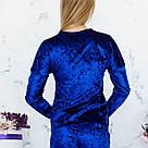 Кофта цвета электрик из набора пижамы женской из мраморного велюра Julia, фото 4