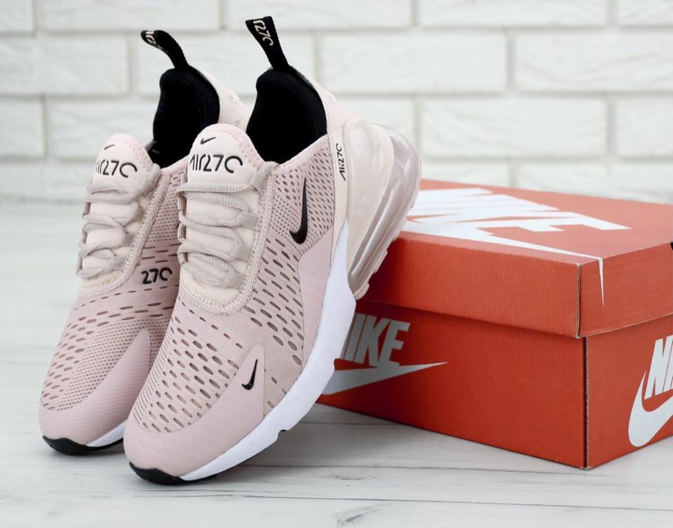 Кроссовки женские Nike Air Max 270 пудровые, Найк Аир Макс 270, текстильные, код KD-11817 37