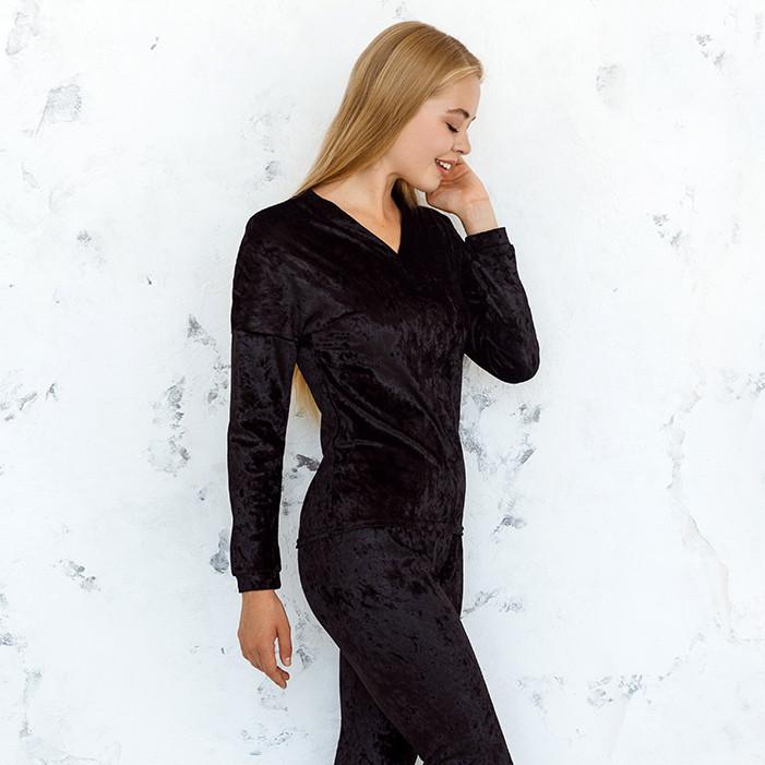 Кофта черного цвета из набора пижамы женской из мраморного велюра Julia
