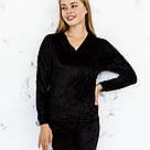 Кофта черного цвета из набора пижамы женской из мраморного велюра Julia, фото 2