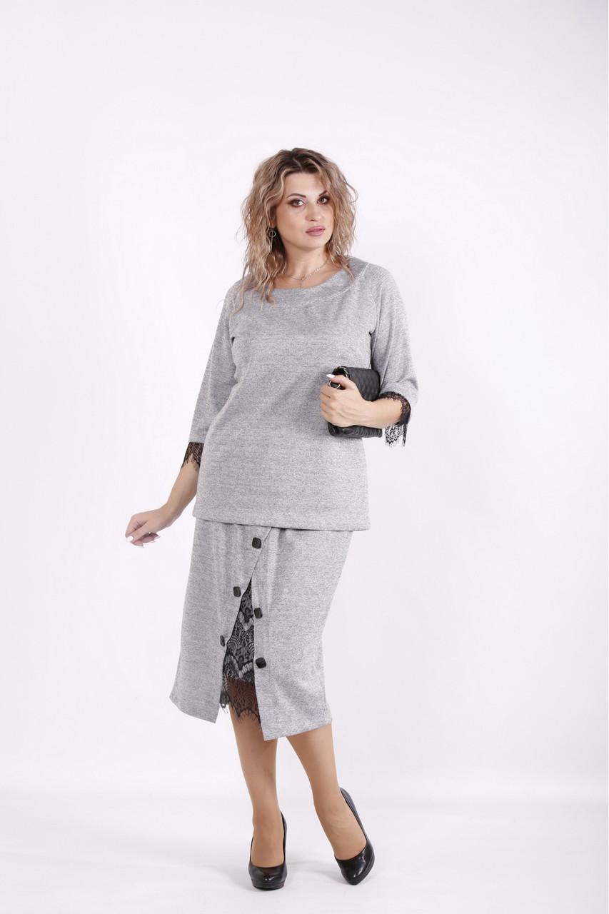 Серый костюм из ангоры деловой юбочный большого размера 42-74. 01584-1