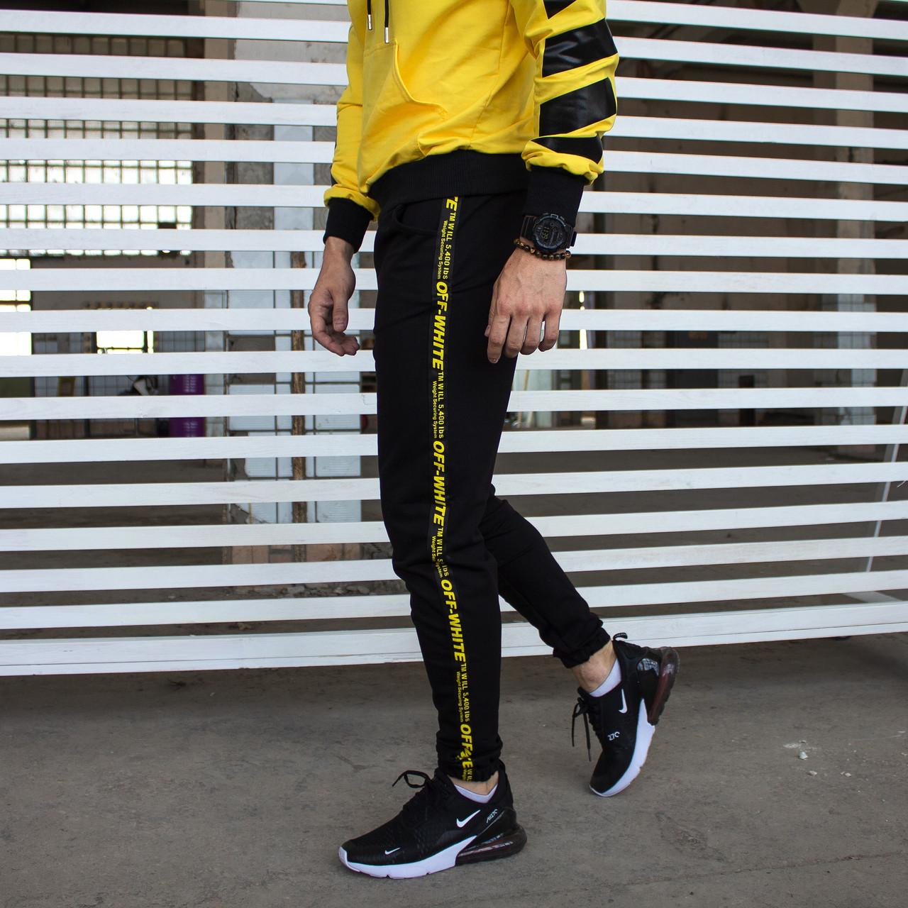 Спортивные штаны Off-White с лампасом мужские черные Зима в стиле Офф-Вайт L