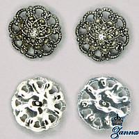 Пуговица (декор) пластиковая (36) цвет никеля 6 шт, фото 1