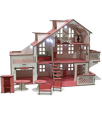 Кукольный дом большой GoodPlay 85х35х55 с гаражом и подсветкой (B 012)