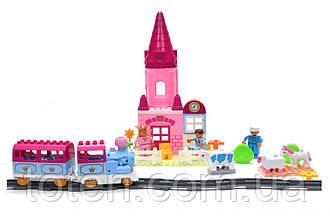 Конструктор железная дорога 83 дет розовая. Паровозик батар, замок, принцесса, принц, животные 0444