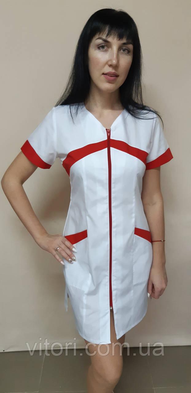 Женский медицинский халат Корра хлопок на молнии короткий рукав