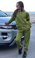 Теплый женский костюм оверсайз турецкий футер трехнитка с начесом свитшот с брюками оливковый, фото 1