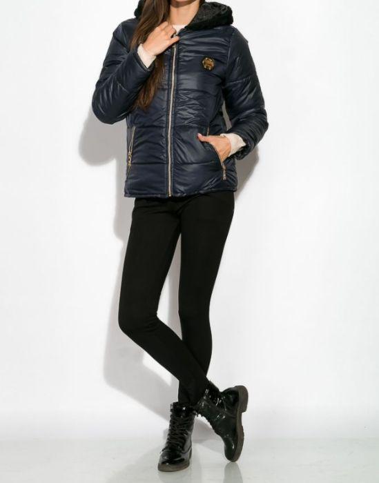 Женская осенне-зимняя куртка с капюшоном на молнии L-XL
