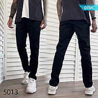 Джинсы мужские на флисе брюки чёрные модные класические утеплённые батал полу зауженые