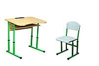 Парта шкільна 1-місна, стілець полозковий регульовані по висоті