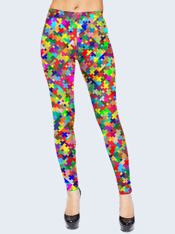 Женские лосины с принтом Разноцветные пиксели Размер 40 - 50