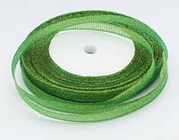Лента парчовая зеленая 0,9 см длина 23 м