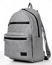 Мужской серый рюкзак из матовой экокожи (качественного кожзама) городской, для ноутбука 15,6