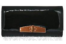 Женский лакированный кошелёк-клатч «Рена», черный