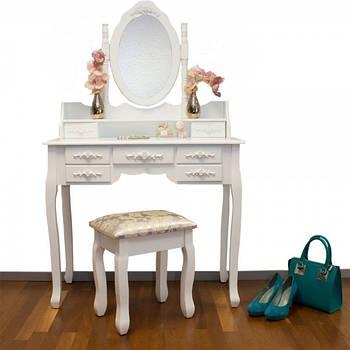 Туалетний столик Еліс 90см білий з дзеркалом і стільчиком Germany quality Трюмо в спальню