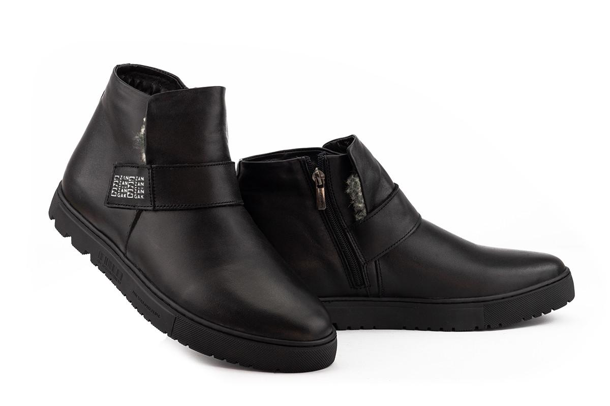 Мужские ботинки кожаные зимние черные Zangak 161 чл
